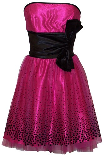 Flocked Polka Dot Strapless Net Holiday Party Gown Cocktail Prom Dress, Size: XS, Color: Black/Fuchsia