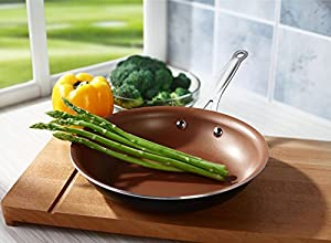 Cooksmark Copper Pan 10-Inch Nonstick Induction Compatible Frying Pan, Skillet, Saute Pan; Dishwasher Safe Oven Safe