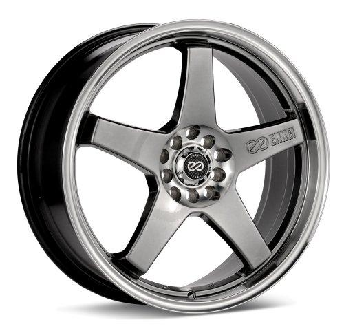 17x7 Enkei EV5 (Hyper Black w/ Machined Lip) Wheels/Rims 4x100/114.3 (446-770-0138HB) (1991 Toyota Corolla Rims compare prices)