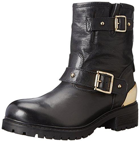 Scarpe stivali donna Love Moschino numero 40 JA24034 in pelle neri con catene e applicazioni dorate