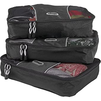 eBags Medium Packing Cubes - 3pc Set (Black)