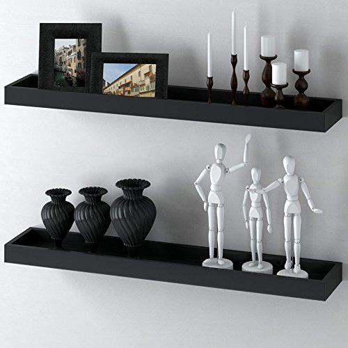 Modern Home Black Floating Tray Wall Wedge Shelf 32 X 6 Inch