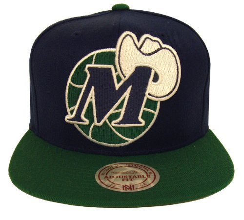 Dallas Mavericks Mitchell & Ness XL Logo Snapback Cap Hat Blue Grn