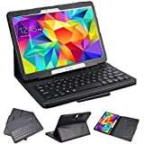 "SUPERNIGHT Samsung Galaxy Tab 3 10.1 & Tab 4 10.1 Case with Keyboard - Ultra Slim Detachable Bluetooth Keyboard Portfolio Leather Case Cover for Samsung Tab 3 & Tab 4 10.1"" Inch P5200 T530 T531 T535 Tablet , Black Color"