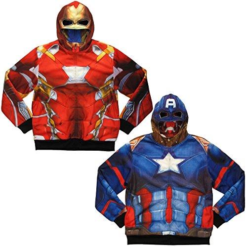 Iron Man Captain America Sublimation Reversible Costume Hoodie (Medium) (Captain America Hoodies For Men compare prices)