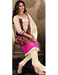 Exotic India Multi-Color Choodidaar Kameez Suit With Embroidered P - Multi-Color