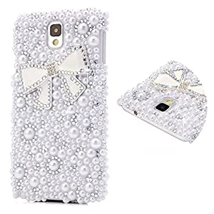 DYNBOSE 3D Handmade Bling Crystal Bow Diamond Pearl Design Case Cover for Samsung Galaxy Note 3 Case SM-N9000 Case Pouch Rhinestone Hard Back Cover