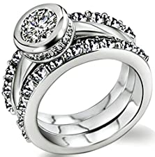 buy Beydodo Alloy White Gold Plated Women'S Promise Ring Round Cubic Zirconia Edge Design Elegant Size 6