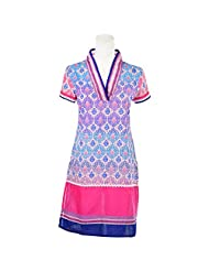 Pooja Multi Color Self Print Cotton Straight Kurti For Women