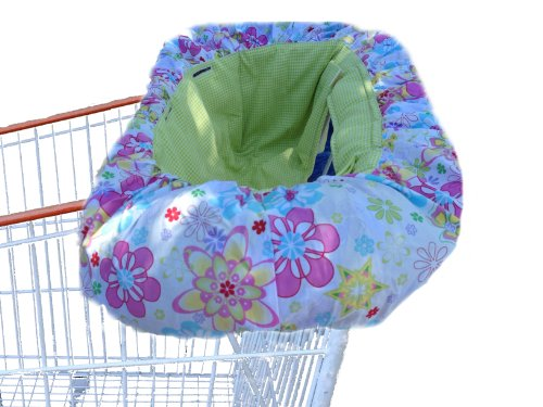Patricia Ann Designs Check Shopping Cart Cover, Starflower Burst With Green Apple front-562071