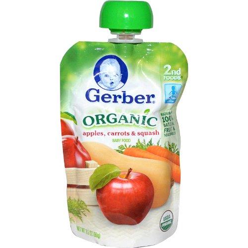 Gerber, 2nd Foods, Organic Baby Food, Apples, Carrots & Squash, 3.5 oz (99 g)