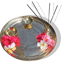 SWS Brass Pooja Items - Diwali Pooja Brass Pooja & Thali Set(4 Pieces, Gold)