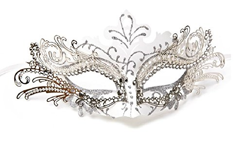 Laser Cut Metal Venetian Mask Masquerade Mardi Gras Silver White with Clear Gems