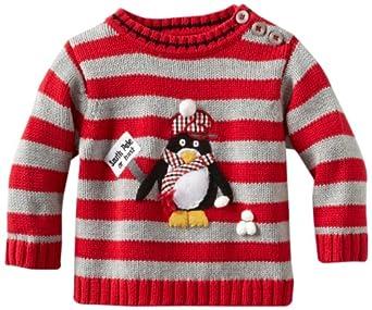 Kitestrings Baby-Boys Newborn Penguin Long Sleeve Sweater, Grey Heather, 0-3 Months
