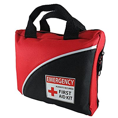 First Aid Kit 100-Piece Emergency Survival Kit, First Aid Bag, For Car, Kitchen, Hunting, Hiking, Camping, School, Sports, Travel, Office, Medical Supplies Premium Nylon Bag Injury Prevention & CPR