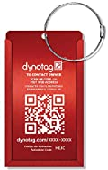 Dynotag® Web/GPS Enabled QR Smart Aluminum Convertible Luggage Tag w. Steel Loop (Ruby Red)
