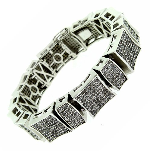 Men's Claw Set High End Finish Bracelet - Platinum Plated sb114