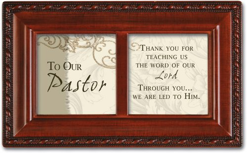To Our Pastor Woodgrain Inspirational Cottage Garden Petite Music Box Plays Hymn How Great Thou Art