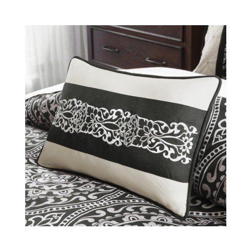 Modern black ivory white comforter bedding set with for California king pillows
