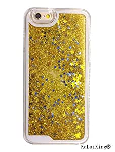 KaLaiXing brand Dynamic Glitter Sand Crystal Clear Hard Back Cover Luxury Bling Quicksand Star Case For iPhone 6 Plus 5.5 inch Gold
