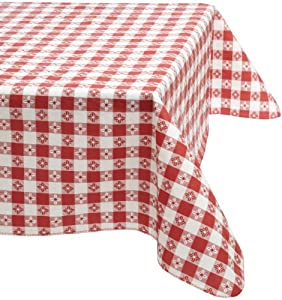Kane Home Products Eco Vinyl Tablecloth, Red Check, 52-Inch by 70-Inch