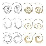 Hanpabum 6Pairs Vintage Bohemian Swirl Hoop Earrings Set For Women Girls Tribal Large Earrings (Color: Yellow)