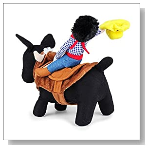 CUPET? Funny Pet Christmas Costume, Novelty Pet Supplies Cowboy Rider Horse Riding Designed with Money Purse Outfit Apparel Christmas Dress Up Decoration Prop Gift for Cat Dog Puppy (M)