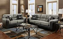 Big Sale Roundhill Furniture Laredo 2-Toned Sofa and Loveseat Living Room Set, Black and Grey