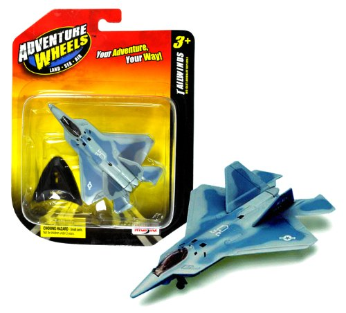 Maisto Adventure Wheels Land-Sea-Air Tailwinds Series 1:152 Scale Die Cast United States Military Aircraft Replica - Supermaneuverable Fighter Jet with Stealth Technology F-22 RAPTOR Plus Display Stand (Dimension: 3-1/2