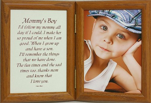 5X7 Hinged Mommy'S Boy Poem Oak Picture Photo Frame ~ A Wonderful Gift Idea For A New Mother, Mother'S Day, Valentines Day, Birthday Or Christmas Gift!