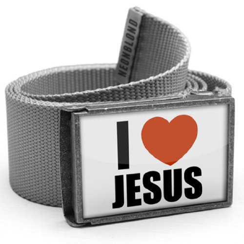 """NEONBLOND Belt grey """"I Love Jesus"""" - with buckle"""