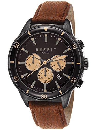 Esprit ES106901003 - Reloj cronógrafo de cuarzo para hombre, correa de cuero color marrón