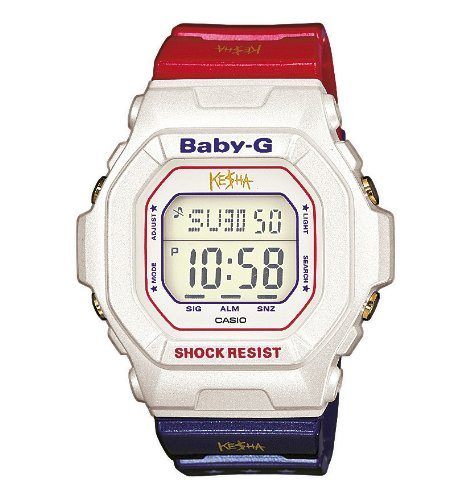 Baby-G Ladies Watch, Limited Edition Collaboration with KE$HA, White Dial Digital Display and Blue and Red Resin Strap BG-5600KS-7ER