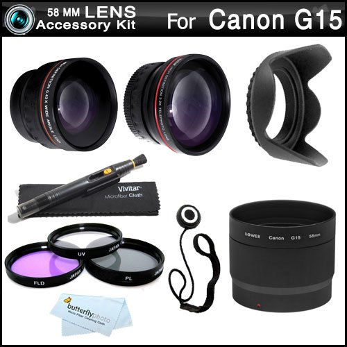 58Mm All In Lens Kit For Canon Powershot G15, Powershot G16 Digital Camera Includes Necessary Replacement La-Dc58L Adapter + .43X Wide Angle Lens + 2.2X Telephoto Lens + Multi-Coated 3Pc Filter Kit (Uv, Cpl, Fld) + Lens Hood + Lens Pen + Lens Cap Keeper
