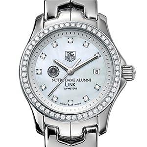 University of Notre Dame Alumni TAG Heuer Watch - Women's Link Watch with Diamond Bezel