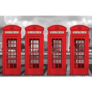 Poster de londres avec des cabines t l phoniques anglaise rouges deco londres - Meuble cabine telephonique anglaise ...