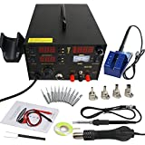 Zeny® 3 in 1 853d Lead-Free Soldering Station SMD Dc Power Supply Hot Air Iron Gun Rework Welder Welding Tool with Free 4 Nozzles and 11 Iron Tips (#003)