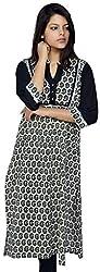 Devansh Women's Free Size Black Printed Long Stitched Cotton Kurtis