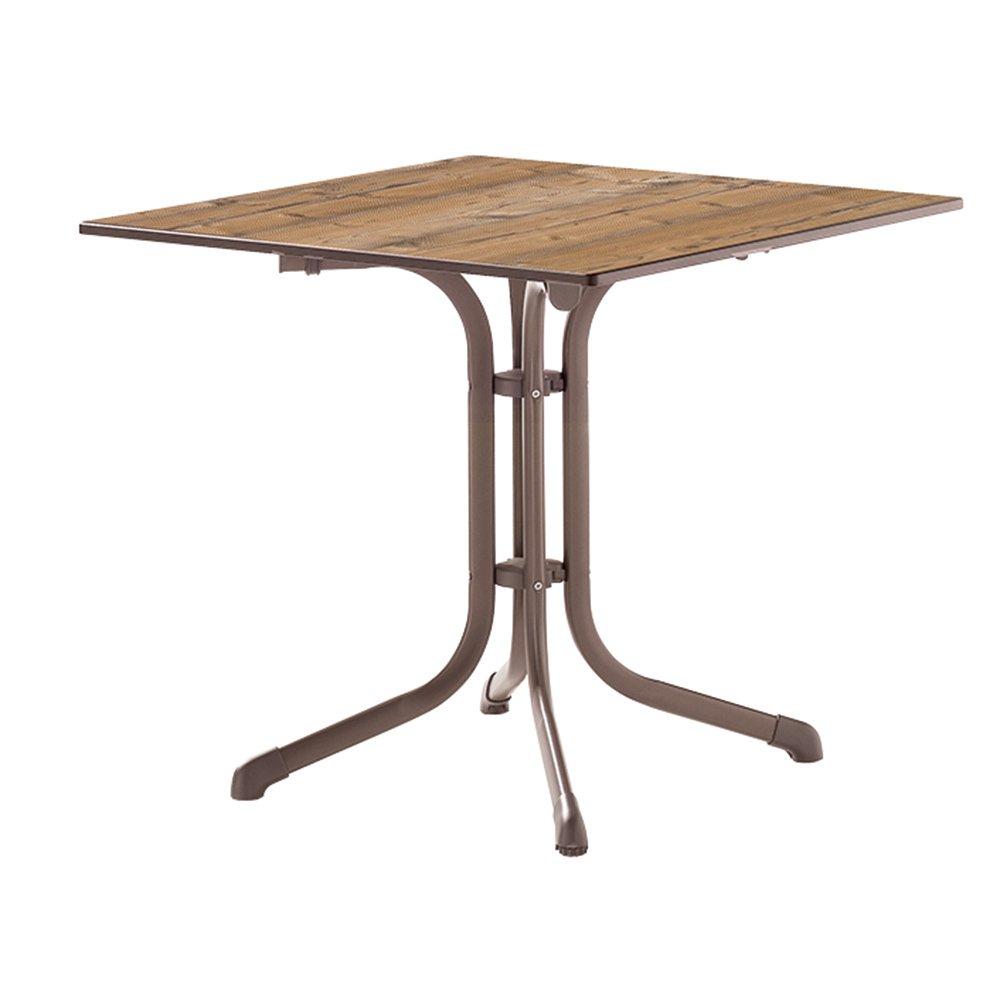 Sieger 1130-75 Boulevard-Tisch mit Puroplan-Platte 80 x 80 cm, Stahlrohrgestell marone, Tischplatte Holzstruktur Fichte