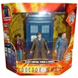 Doctor Who Flight Control TARDIS - 3 Figure Gift Set with 10th Doctor in Trenchcoat, Captain Jack Harkness, and Martha Jones Action Figures