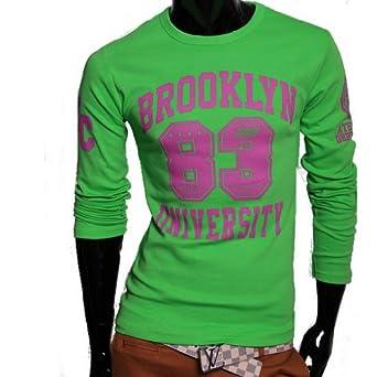 Herren Brooklyn Sweatshirt 100% Baumwolle Pulli Pullover Neu (M, Grün)