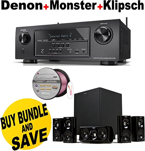 Denon AVR-S710W 7.2 Channel Full 4K Ultra HD A/V Receiver with Bluetooth and Wi-Fi + Klipsch HDT-600 Home Theater System Bundle