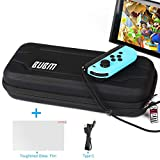 Water-proof BUBM Carry Case for Nintendo Switch Free Get Charging Cable & Enhanced Glass Protective Storage Bag Hard Shell Travel Goods Console Protective Film & Accessory for Nintendo