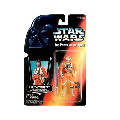 Star Wars: Power of the Force Red Card Luke Skywalker in X-Wing Fighter Pilot Gear with Short Lightsaber Action Figure - 1