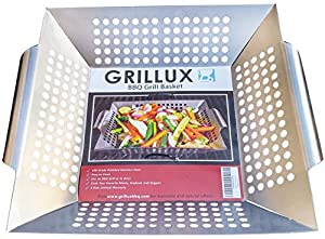 BBQ Vegetable Grill Basket - Use as Wok, Skillet, or Smoker - Durable 430 Grade Stainless Steel - Professional Cookware - Barbeque Fish & Diced Meat - by Grillux Grillux
