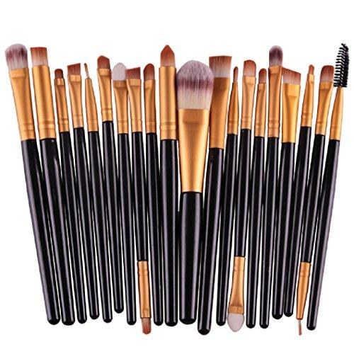 DDLBiz® 20 pc / trucco set insieme di spazzola strumenti Make-up da toeletta del corredo di lana trucco set di pennelli, Nero
