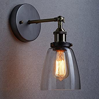 LES YOBO Lighting Industrial Edison 1 Light Wall Sconce Clear Glass Shade Light Fixture: Amazon ...