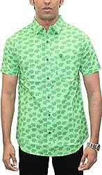 AA' Southbay Men's Green Polar Bear Print 100% Cotton Half Sleeve Hawaiin Print Beach Wear Casual Shirt