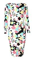 Womens Long Sleeved Geometric Retro Square Print Midi Dress (Mtc) (8/10 (uk 12/14), black/white/yellow)
