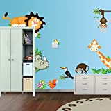 1 X Zooyoo Jungle Wild Animal Vinyl Wall Sticker Decals for Kids Baby Bedroom